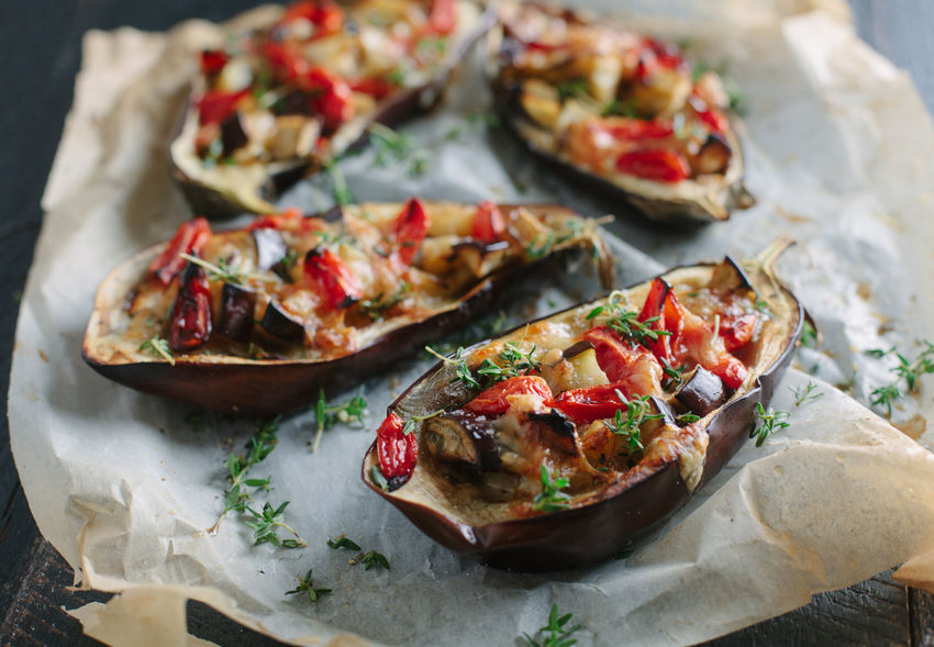 Aubergine stuffed with cheese and