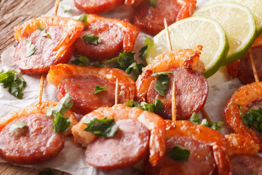 Chorizo and king shrimp skewer