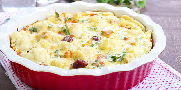 Cauliflower au gratin with chorizo