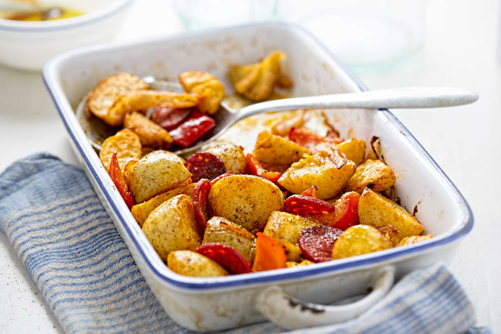 Roast potatoes, with chorizo and red peppers